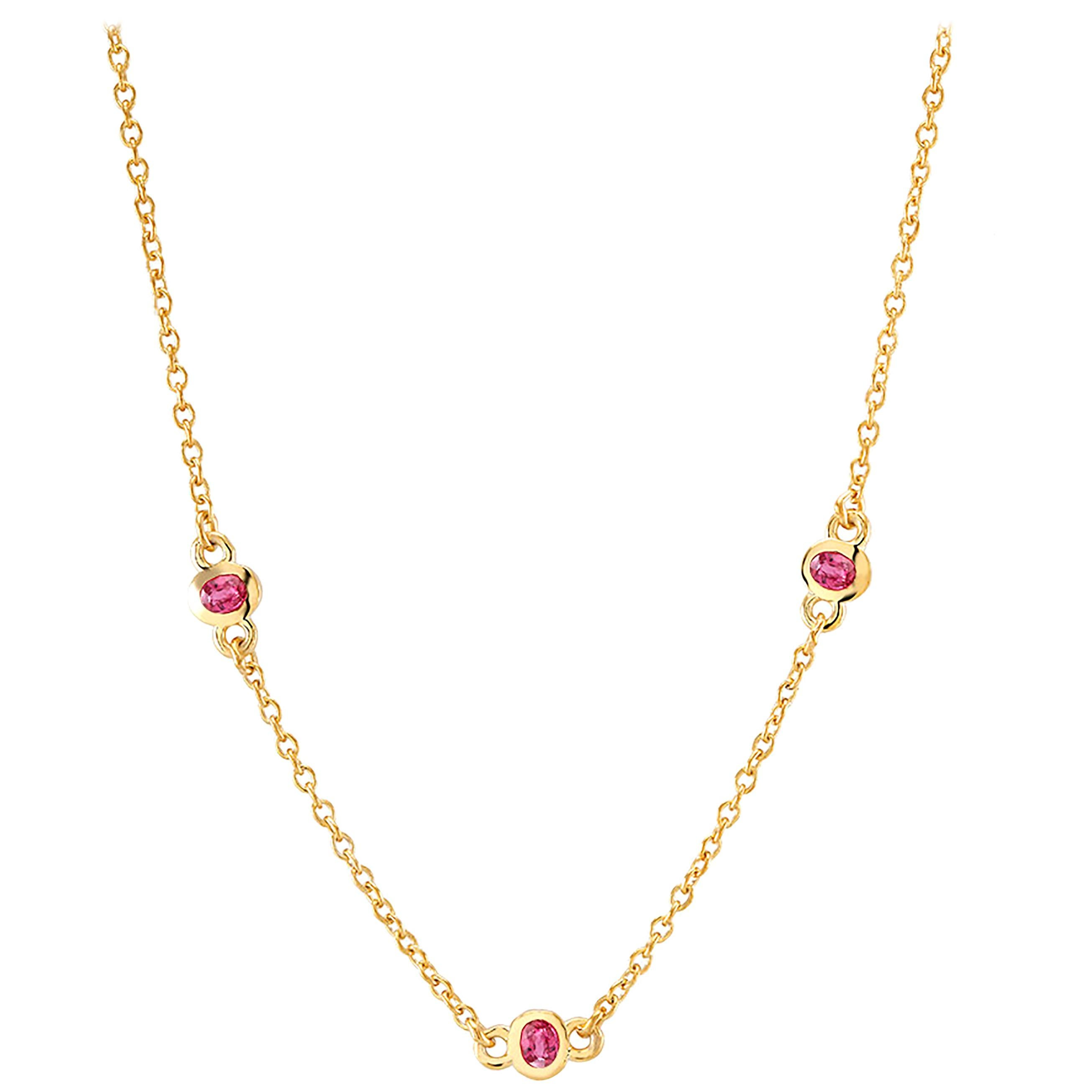 Three Rubies Bezel Set Silver Pendant Necklace Yellow Gold-Plated