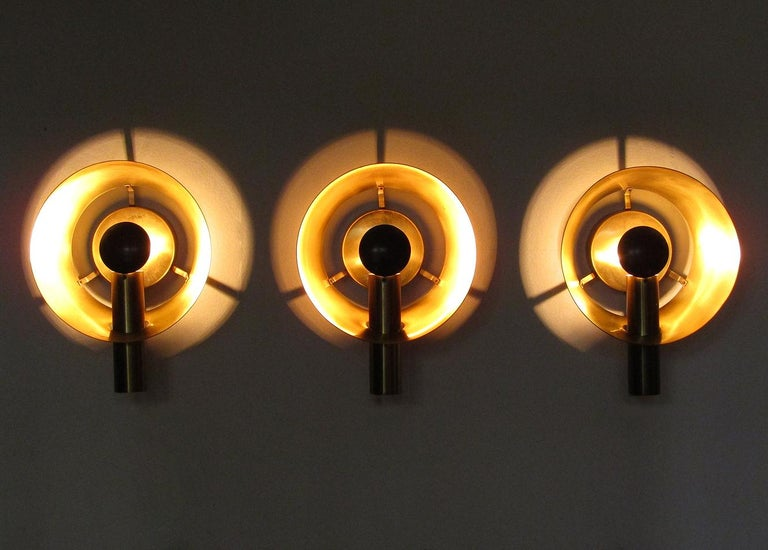 Mid-Century Modern Three Sculptural Danish Wall Lights in Brass and Racing Green by Lyfa For Sale