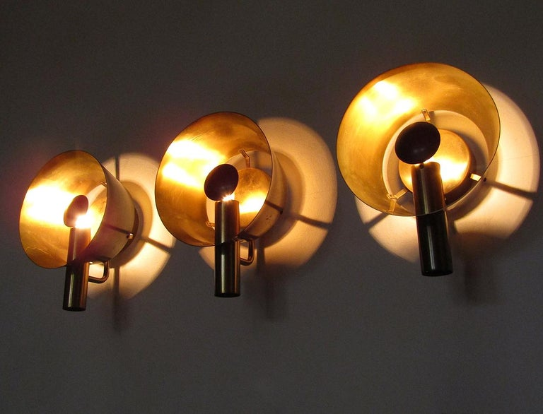 20th Century Three Sculptural Danish Wall Lights in Brass and Racing Green by Lyfa For Sale