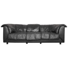Three-Seat Black Leather Swiss Sofa by De Sede, 1980s
