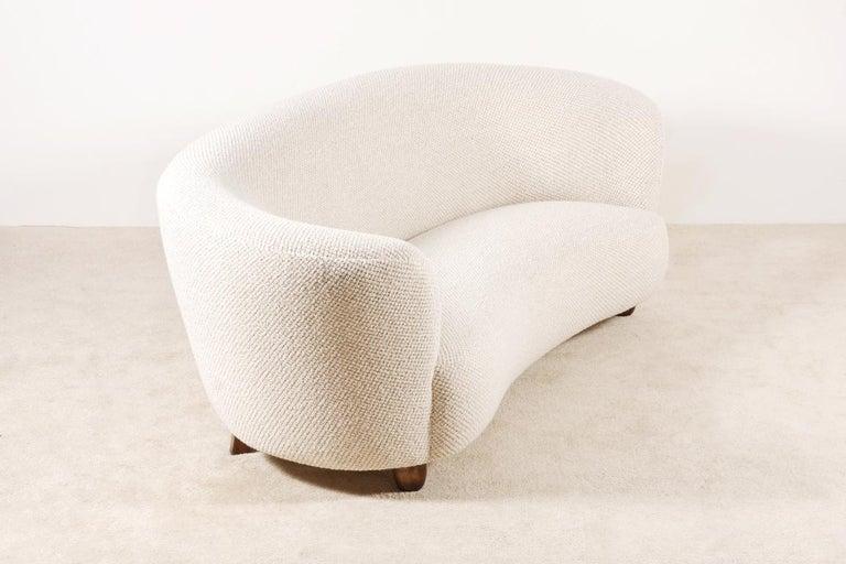 Scandinavian Modern Three-Seat Curved Sofa, Denmark, circa 1940 For Sale