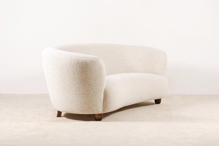 Danish Three-Seat Curved Sofa, Denmark, circa 1940 For Sale
