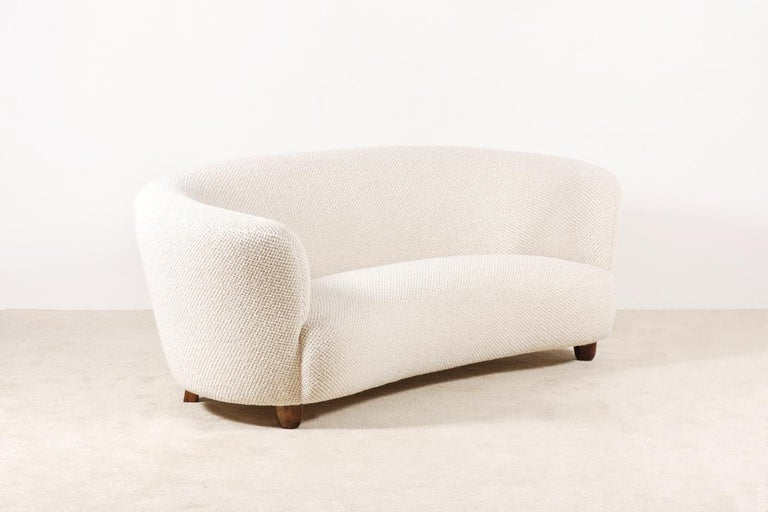 Mid-20th Century Three-Seat Curved Sofa, Denmark, circa 1940 For Sale