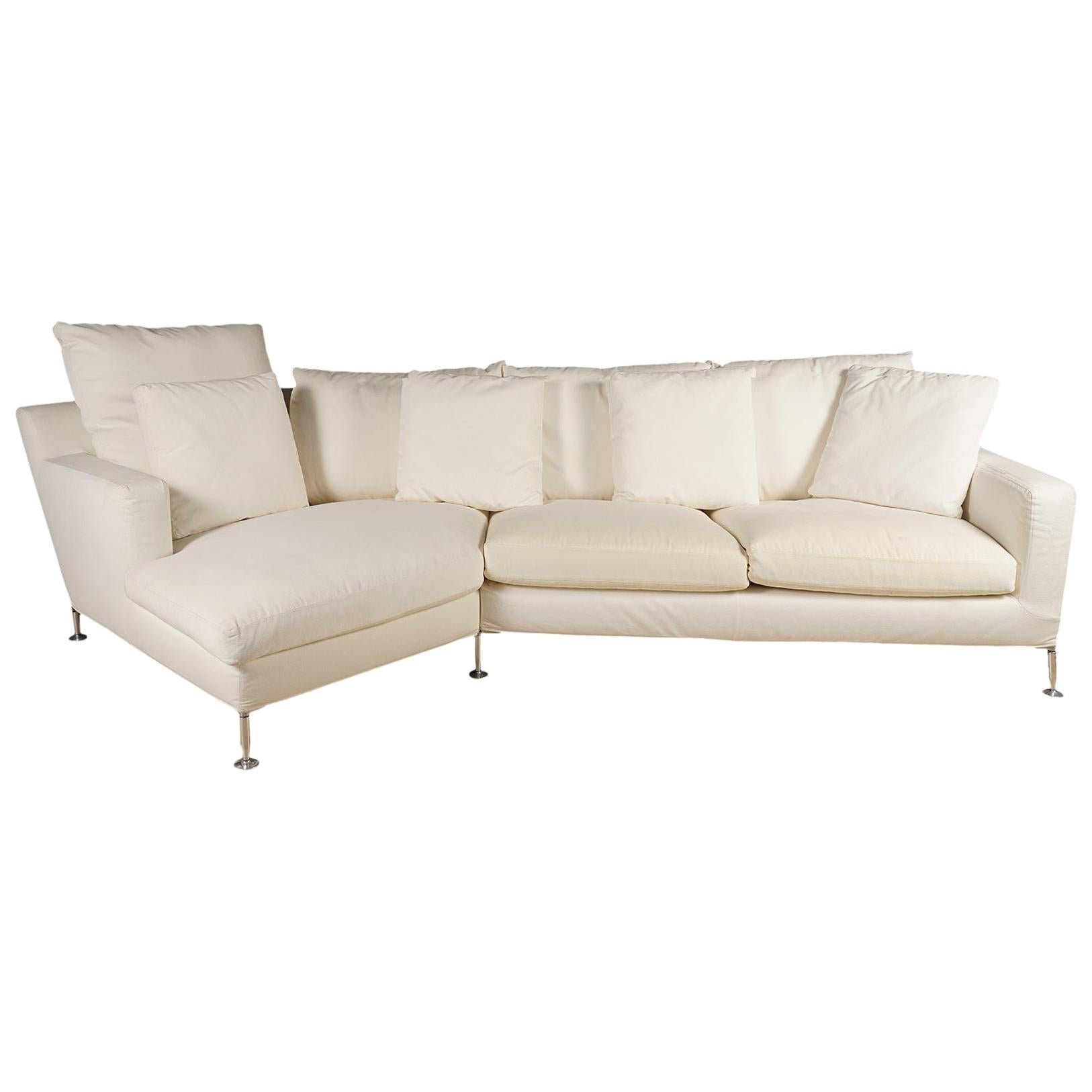 Three-Seat Italian Sofa and Chaise 'Harry' by Antonio Citterio for B&B Italia