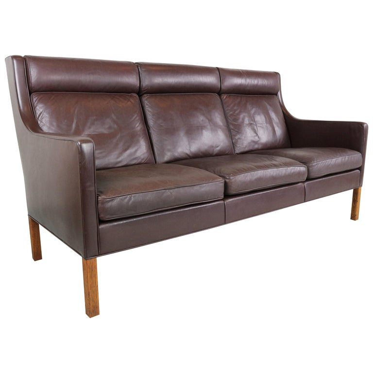 Three-Seat Leather Sofa 2433 by Børge Mogensen for Fredericia ...
