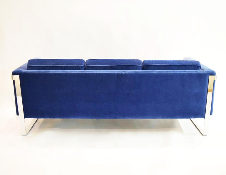 Steel Three-Seat Sofa by Pace Collection, USA, circa 1975 For Sale