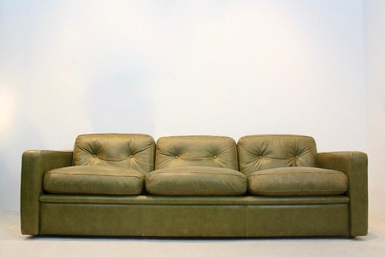 Leather Three-Seat Sofa by Poltrona Frau in Olive green leather, Italy 1970s For Sale