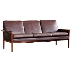 Three-Seat Sofa in Cordovan Leather and Rosewood by Hans Olsen for Vatne, Norway
