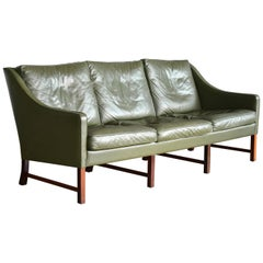Three-Seat Sofa in Green Leather and Rosewood Attributed to Fredrik Kayser