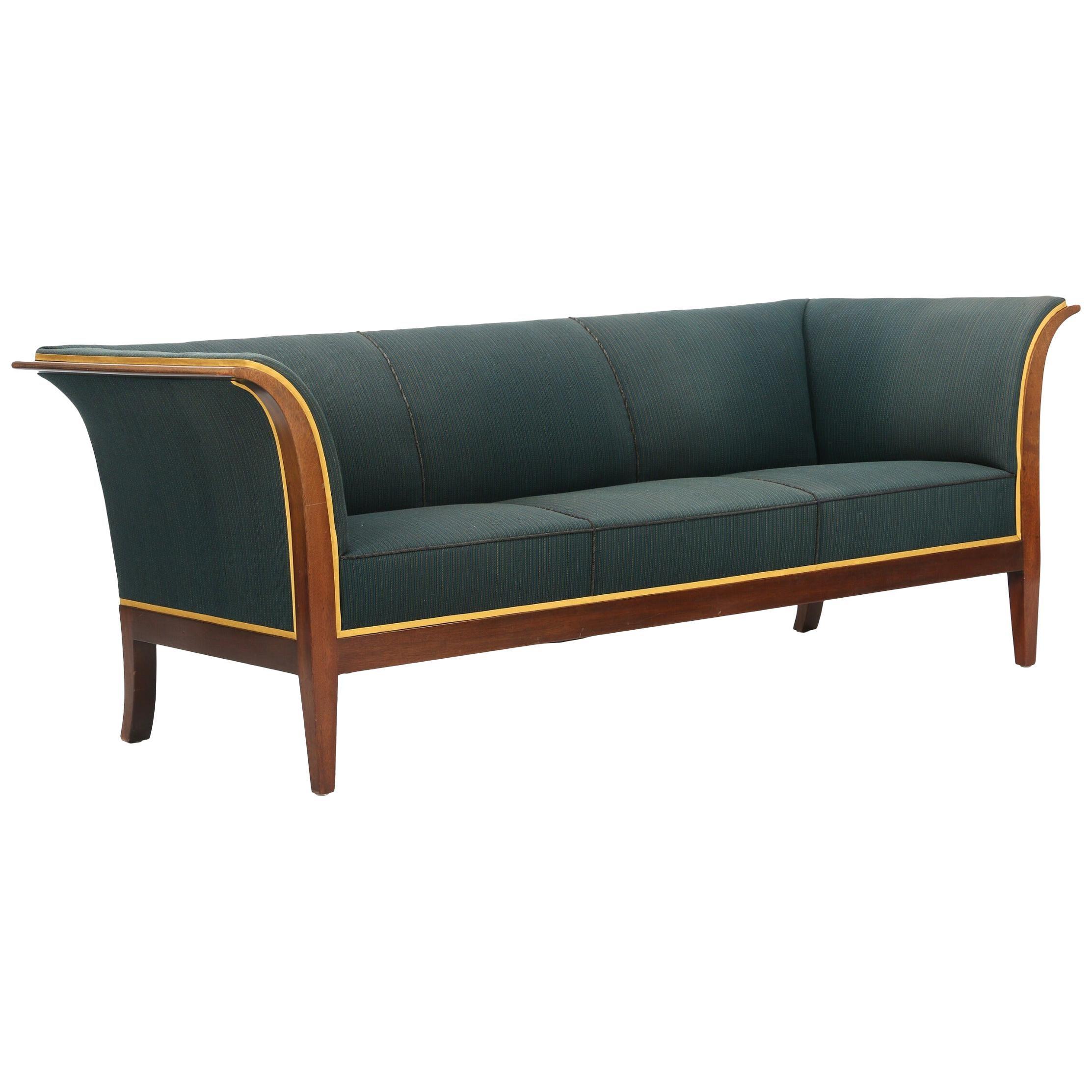 Three-Seat Sofa with Mahogany Frame by Frits Henningsen