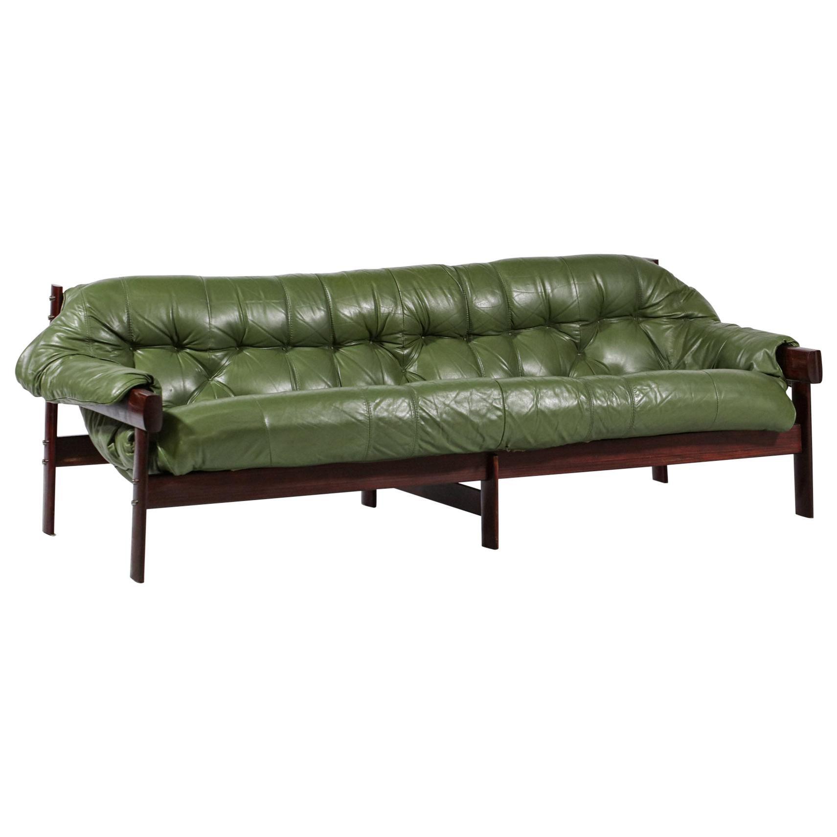 Three-Seater Sofa by Brazilian Designer Percival Lafer Design Leather