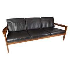 Three Seater Sofa in Teak and Upholstered with Black Leather, by Arne Vodder