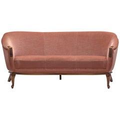 Three-Seat Sofa, Pink Velvet and Oak, Denmark, 1940s