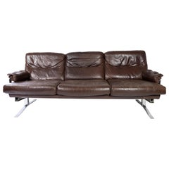 Three Seater Sofa Upholstered with Patinated Brown Leather by Arne Norell, 1970s