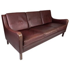 Three Seater Sofa, with Red Brown Leather by Stouby Furniture from the 1960s