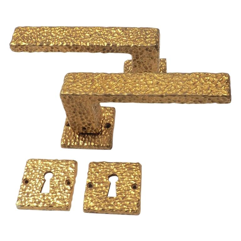 Three Sets of French 1970s Gilt Door Handles with Matching Key Plates