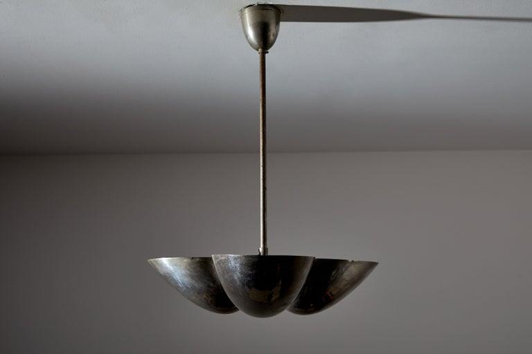 Mid-Century Modern Three-Shade Bauhaus Chandelier by Zukov For Sale