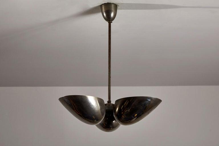Czech Three-Shade Bauhaus Chandelier by Zukov For Sale