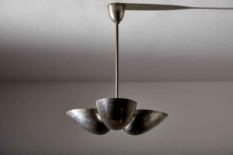 Three-Shade Bauhaus Chandelier by Zukov In Good Condition For Sale In Los Angeles, CA