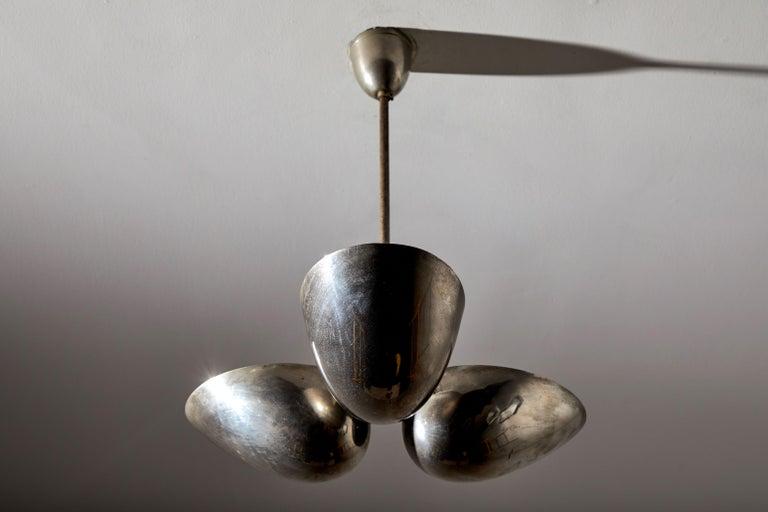 Mid-20th Century Three-Shade Bauhaus Chandelier by Zukov For Sale