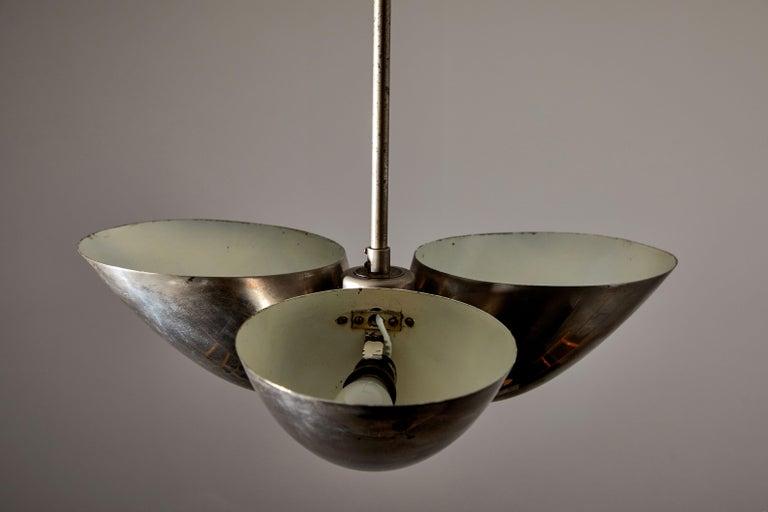 Three-Shade Bauhaus Chandelier by Zukov For Sale 2