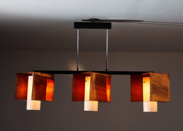 Mid-Century Modern Three Shade Chandelier by Stilnovo For Sale