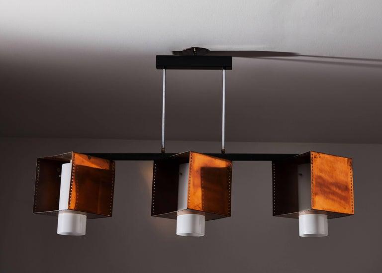 Italian Three Shade Chandelier by Stilnovo For Sale