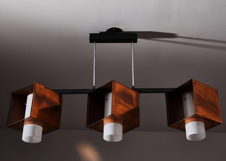 Three Shade Chandelier by Stilnovo In Good Condition For Sale In Los Angeles, CA