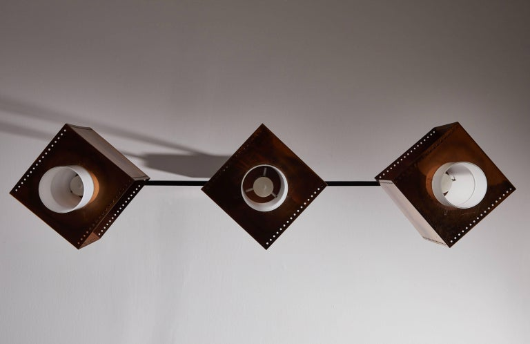 Mid-20th Century Three Shade Chandelier by Stilnovo For Sale