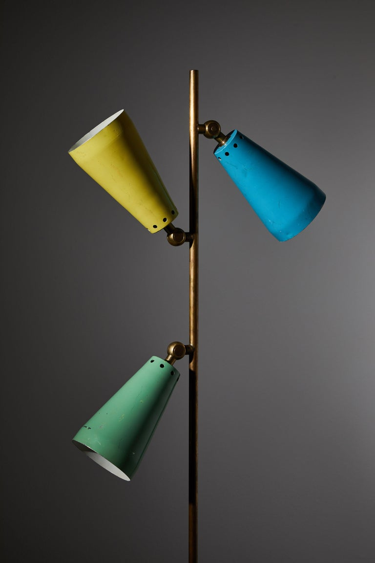 Brass Three Shade Desk Lamp by Arteluce For Sale