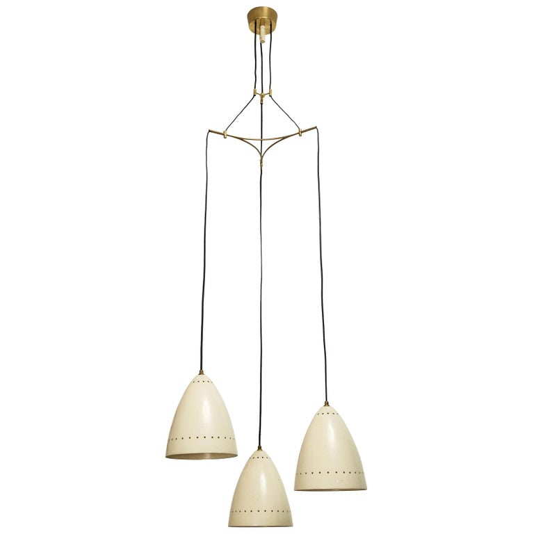 Three Shade Italian Chandelier For Sale