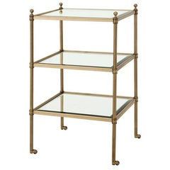 Three Shelves Side Table in Aged Brass or Silver Plated Finish