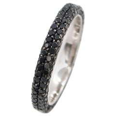 Three Sided All Round Pavé Black Diamond Band 18 Karat Gold Ring