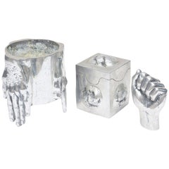 Three Signed Aluminum Sculptural Objects in the Style of Richard Etts