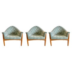Three Signed Thayer Coggin by Milo Baughman Exposed Frame Lounge Chairs 1965