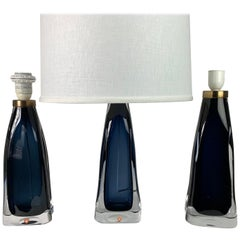 Three Single Blue Orrefors Lamps