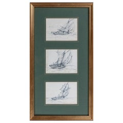 Three Sketches on Post Cards by Montague Dawson RA