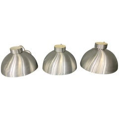 Three Spun Aluminum Midcentury Style Round Hanging Lights