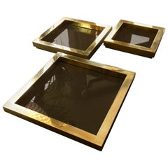 Three Square Brass Stacking Trays or Dishes, 1970s, Attributed to Willy Rizzo