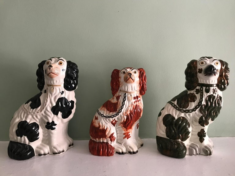 Victorian Three Staffordshire Dogs, with Different Color Spots & Gilded details, 19th C. For Sale