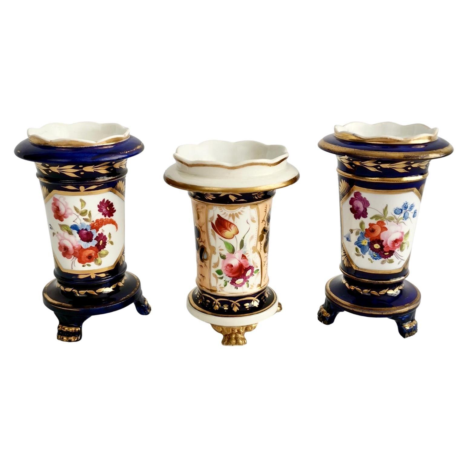 Three Staffordshire Porcelain Spill Vases Floral Cobalt Blue, Regency circa 1820