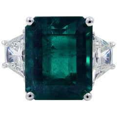 Three-Stone 9.39 Carat Emerald Diamond Handmade Ring 18 Karat White Gold