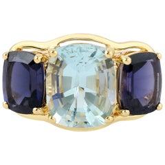 Three Stone Aquamarine Iolite 18 Karat Gold Ring 109/5