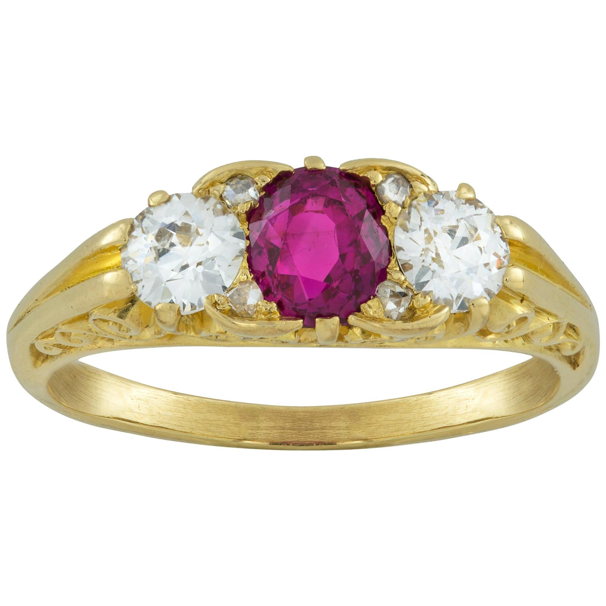 Three-Stone Carved Half Loop Ruby and Diamond Ring