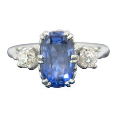 Three-Stone Ceylon No Heat Sapphire Diamonds Platinum Ring