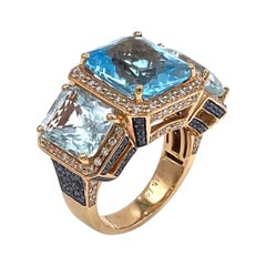 Three Stone Cocktail Ring 18k Rose Gold Ring with 16.78 Carats Blue Topaz