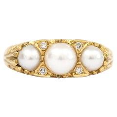 Three Stone Cultured Pearl and Diamond 18 Karat Yellow Gold Trilogy Ring