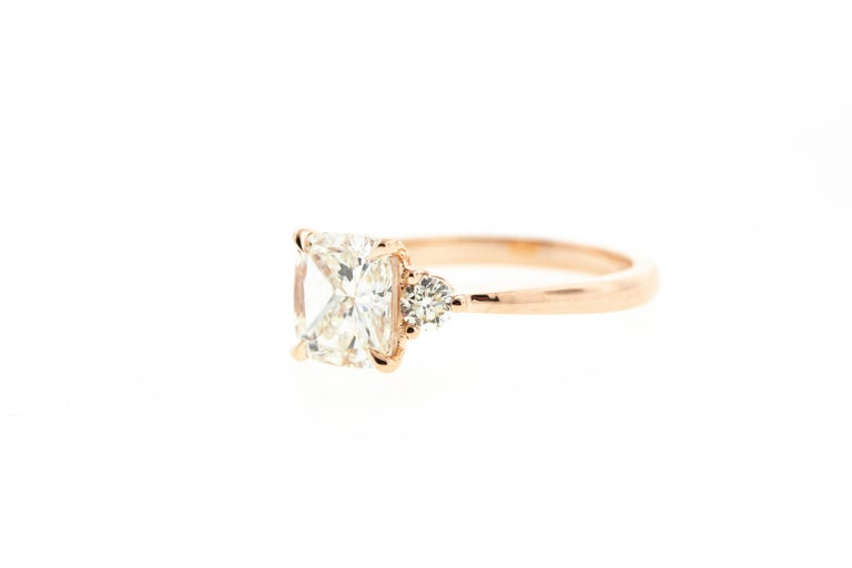 Art Deco Three-Stone Cushion Cut Diamond Engagement Ring in Rose Gold 'GIA' For Sale