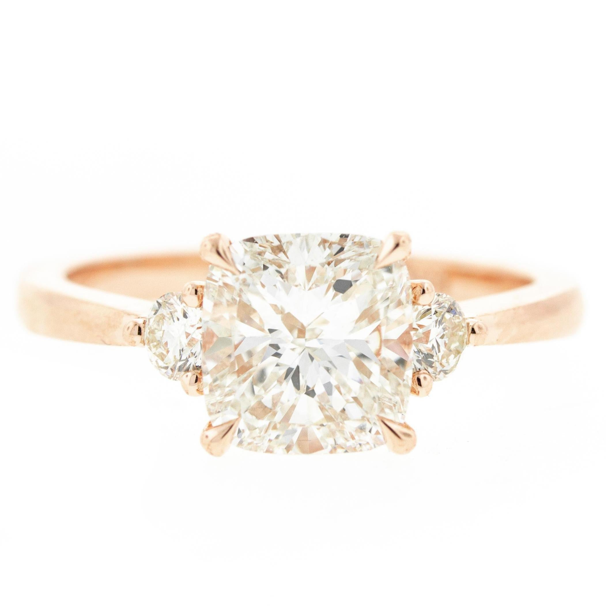 Three-Stone Cushion Cut Diamond Engagement Ring in Rose Gold 'GIA'