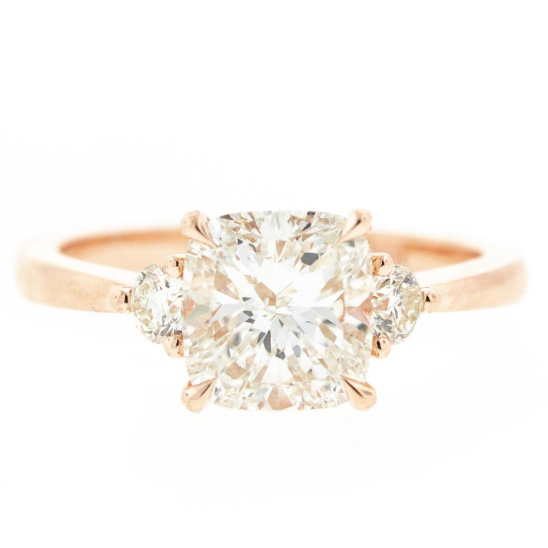 Three-Stone Cushion Cut Diamond Engagement Ring in Rose Gold 'GIA' For Sale